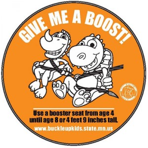 Booster until age 8 sticker