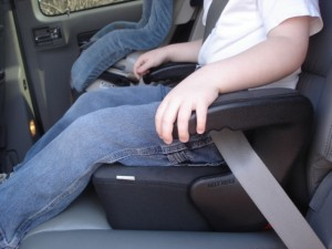 Optimal booster seat depth prevents slouching