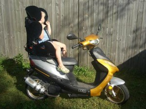 Installing a Child Restraint on a Scooter