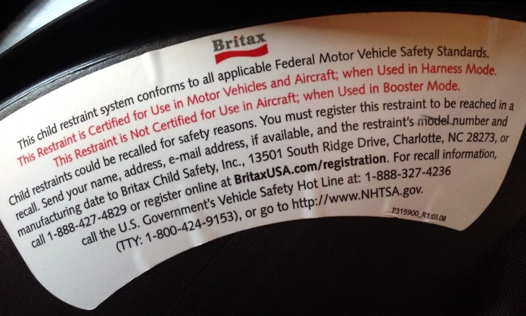 Britax Frontier 80 FAA Certification Label