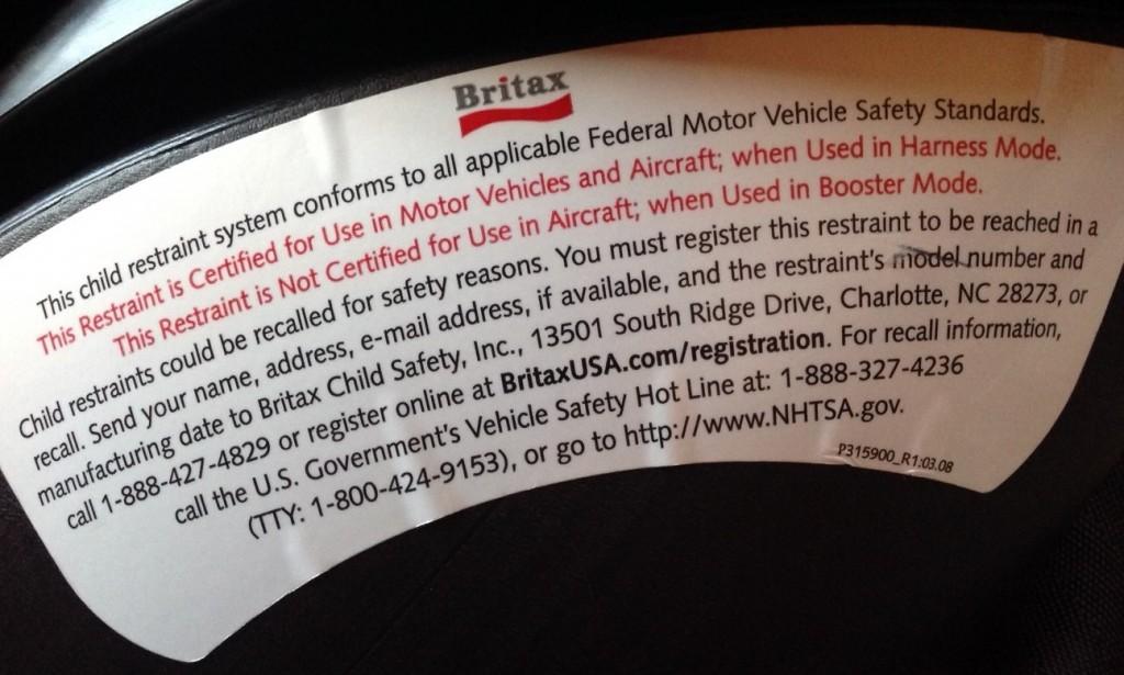 Britax Frontier 80 FAA Certification Label