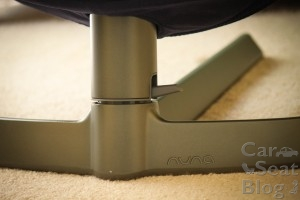 The lever on the side can be pushed down to lock the seat in a stationary position.