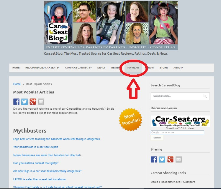 Carseatblog - most popular page - mythbust
