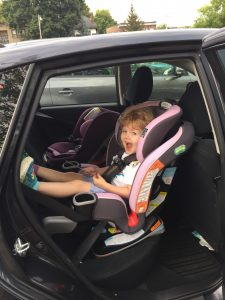 Greta sits in the Milestone and Extend2Fit 3-in-1 seats.
